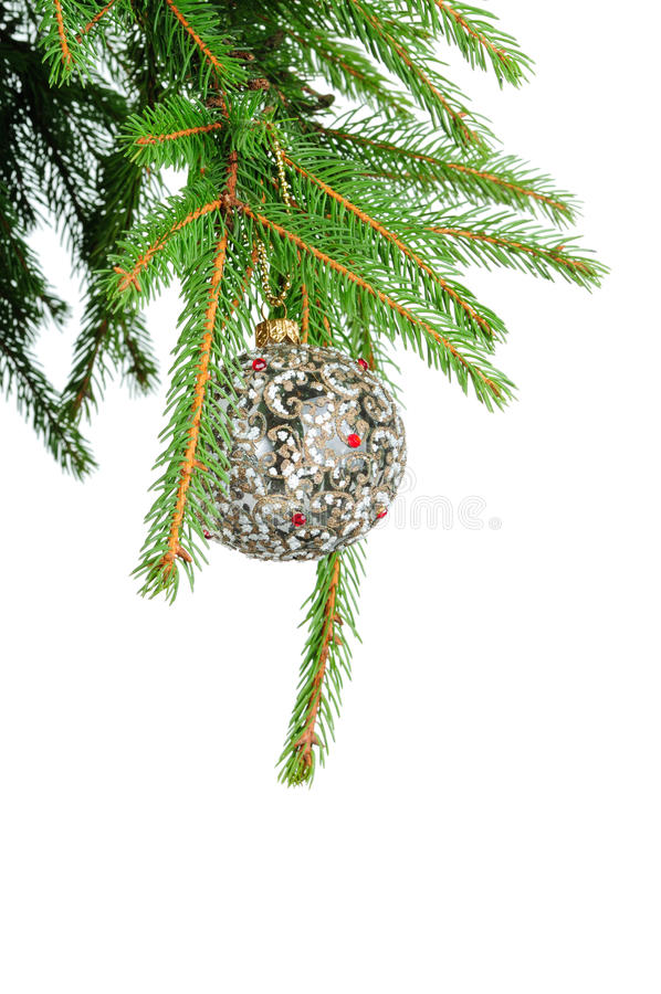 Pine Branches And Christmas Ball Isolated On White Stock Photography