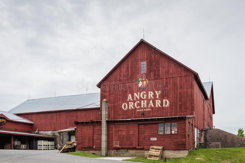 Angry Orchard Barn - Pine Bush NY. Pine Bush, NY /USA - June 9, 2018: Front of Angry Orchard barn at entrance royalty free stock photo