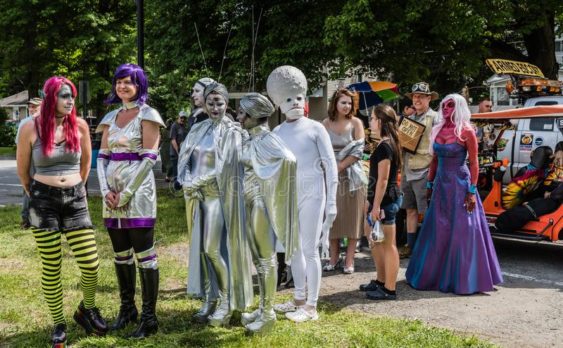 Pine Bush UFO Fair Alien Pagent. Pine Bush, NY /USA - June 9, 2018: Line up of contestants at Alien Pagent royalty free stock photos
