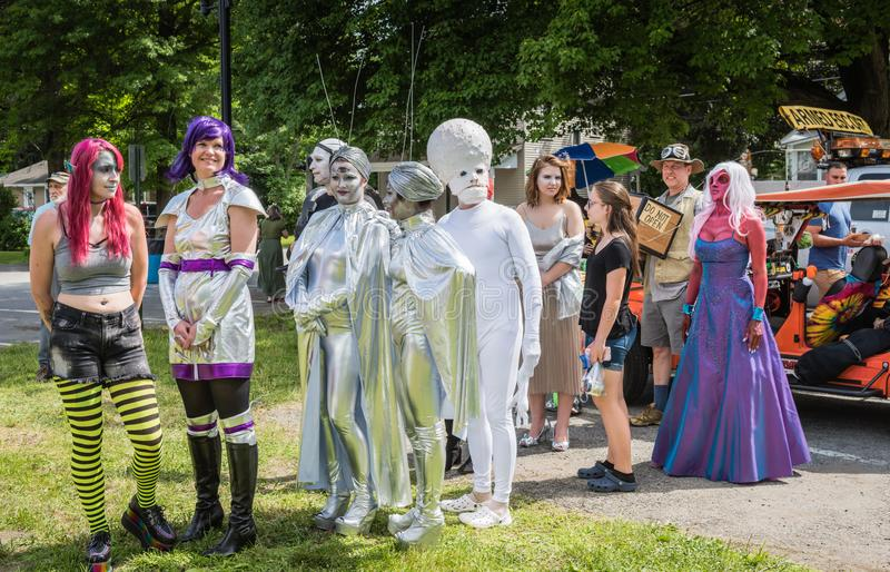 Pine Bush UFO Fair Alien Pagent. Pine Bush, NY /USA - June 9, 2018: Line up of contestants at Alien Pagent royalty free stock images