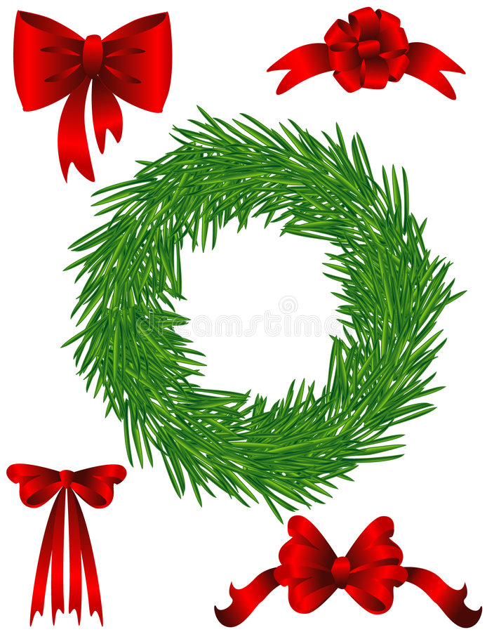 Pine chaplet and bows stock image