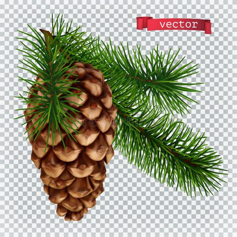 Pine cone christmas decoration. 3d realistic vector icon vector illustration