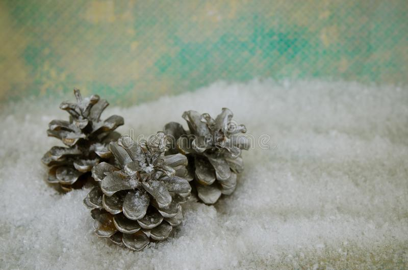 Pine cone trees in winter snow. Y background stock photography