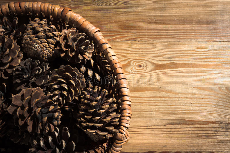 Pine Cone in wicker basket royalty free stock image