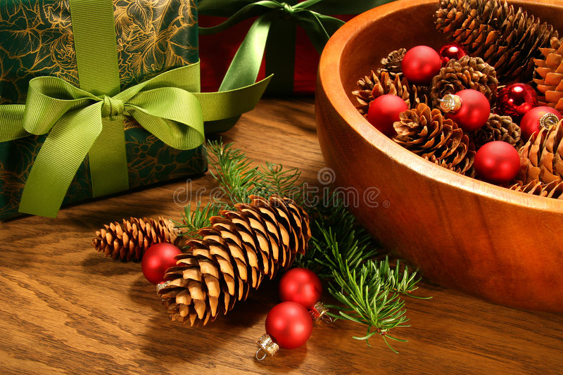 Download Pine Cones,christmas Balls And Gifts Royalty Free Stock Photos - Image: 7085688