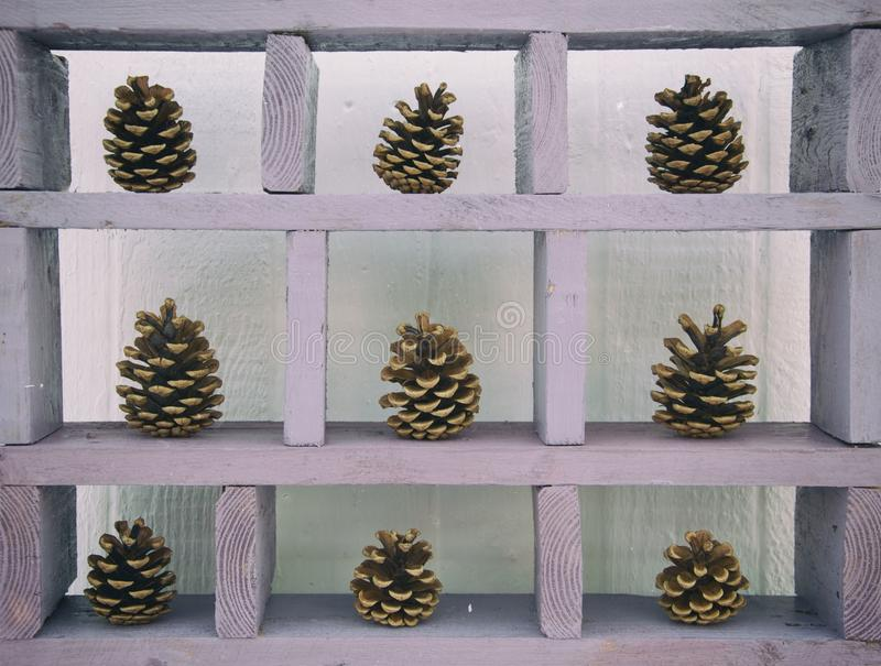 Pine cones on rustic lilac shelving stock image