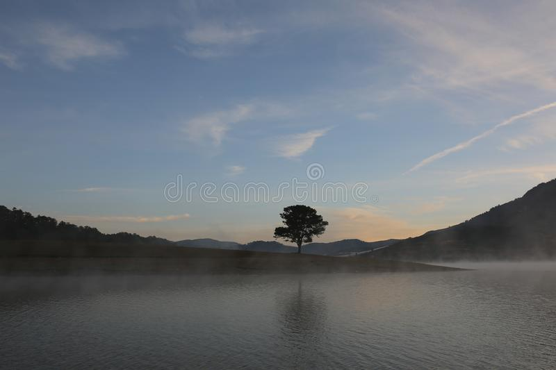 Pine forest island and shrubs refection on the lake at dawn with magic of the sky and clouds part 3 royalty free stock photography