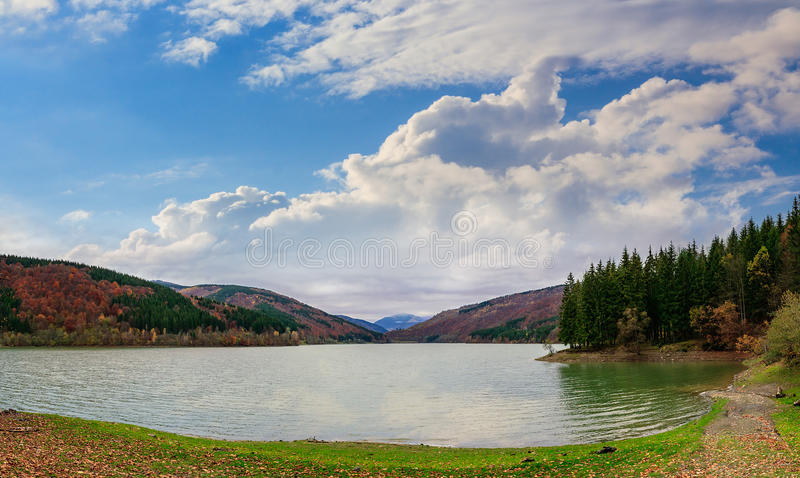 Download Pine Forest And Lake Near The Mountain Early In The Morning Royalty Free Stock Images - Image: 38262639