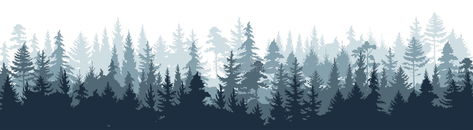 Pine forest. Silhouette wood tree background, wild nature woodland landscape. Vector foggy misty scene royalty free illustration