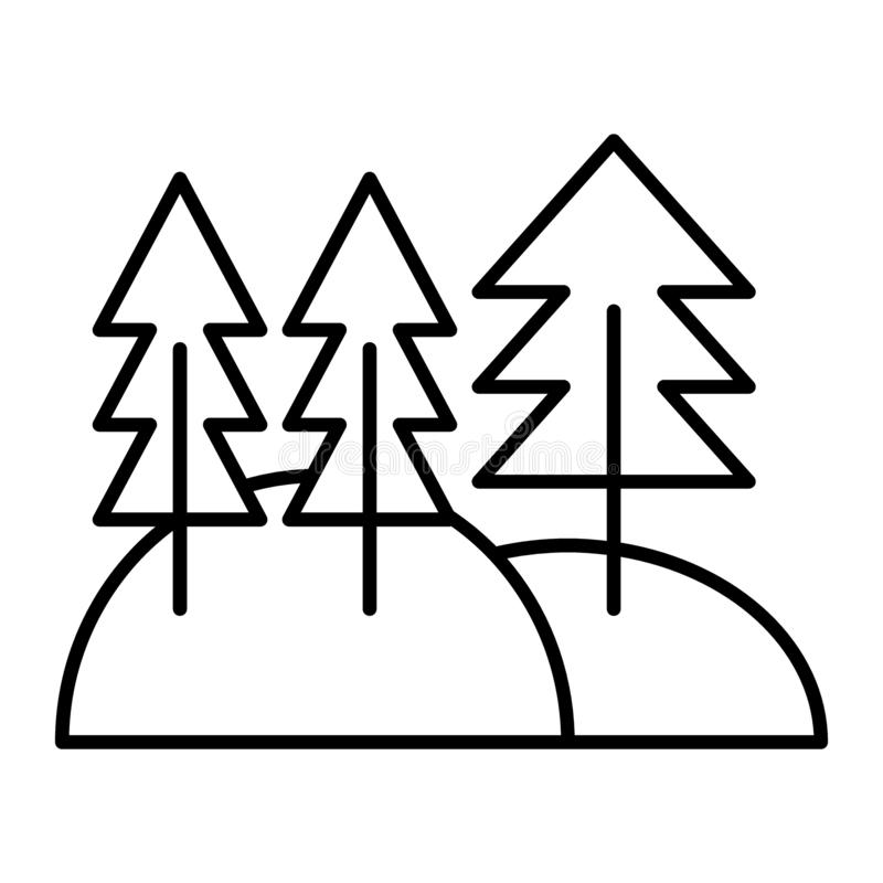 Pine forest thin line icon. Pine woods vector illustration isolated on white. Trees outline style design, designed for royalty free illustration