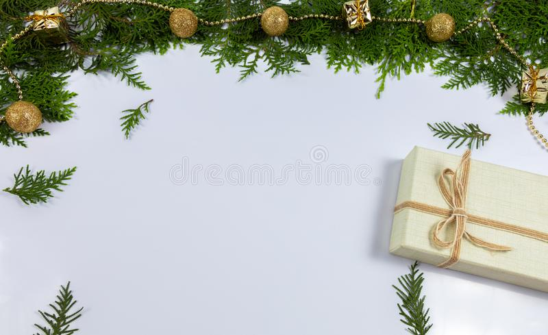Pine leaf and gift box stock images