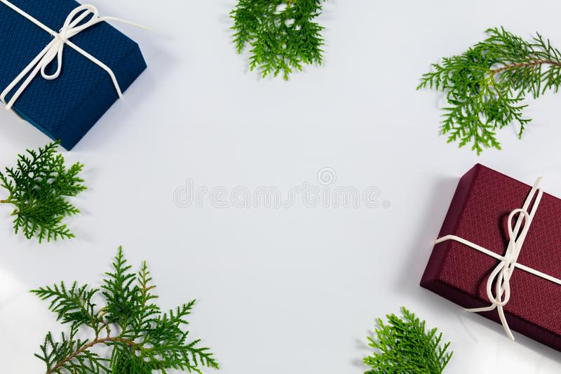Pine leaf and gift box stock image