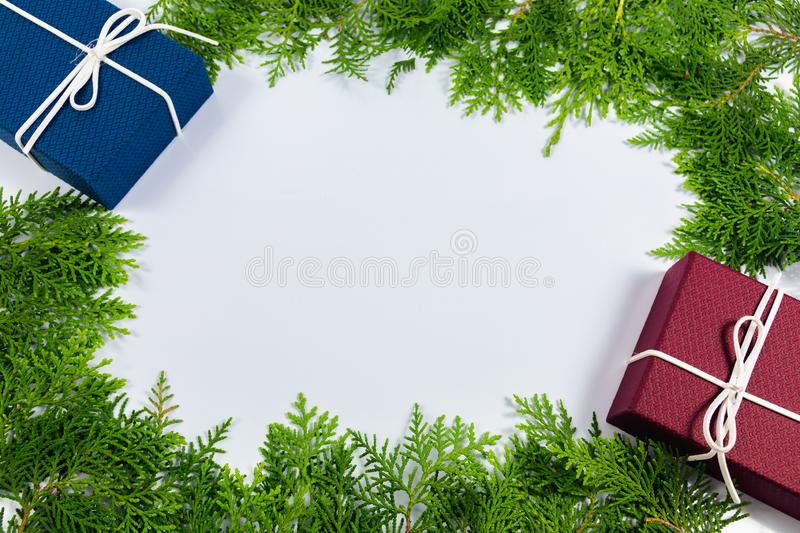 Pine leaf and gift box royalty free stock photos