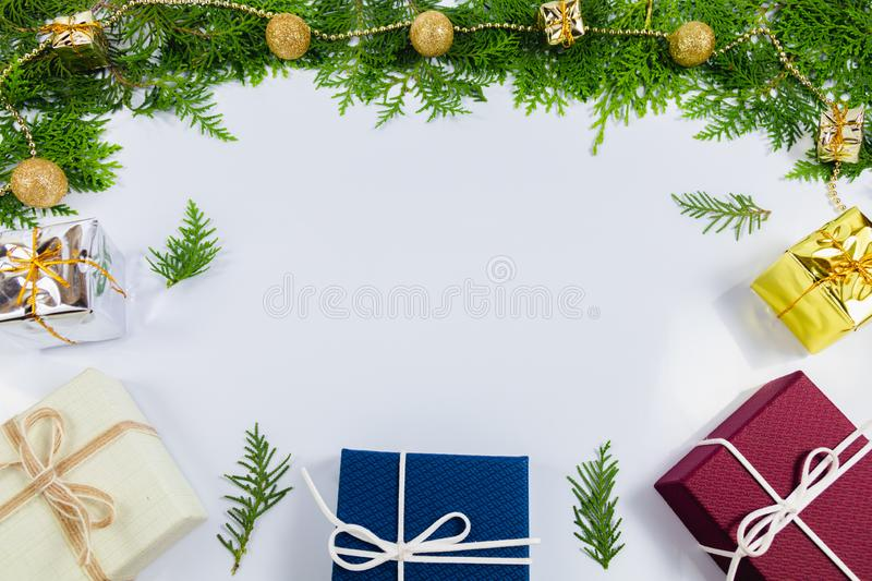 Pine leaf and gift box stock photography