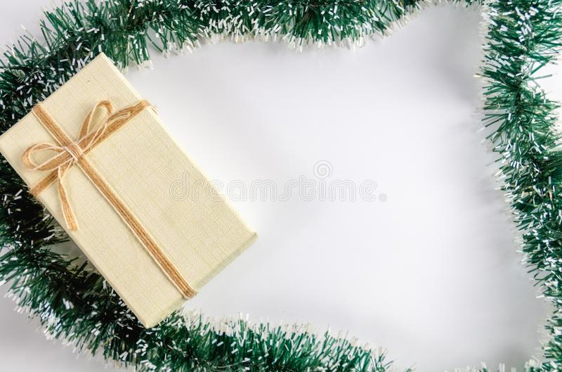 Pine leaf and gift box stock photo
