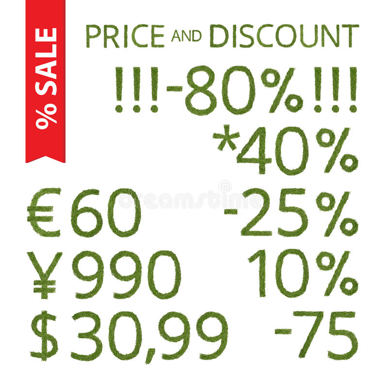 Pine needle price and discount royalty free illustration
