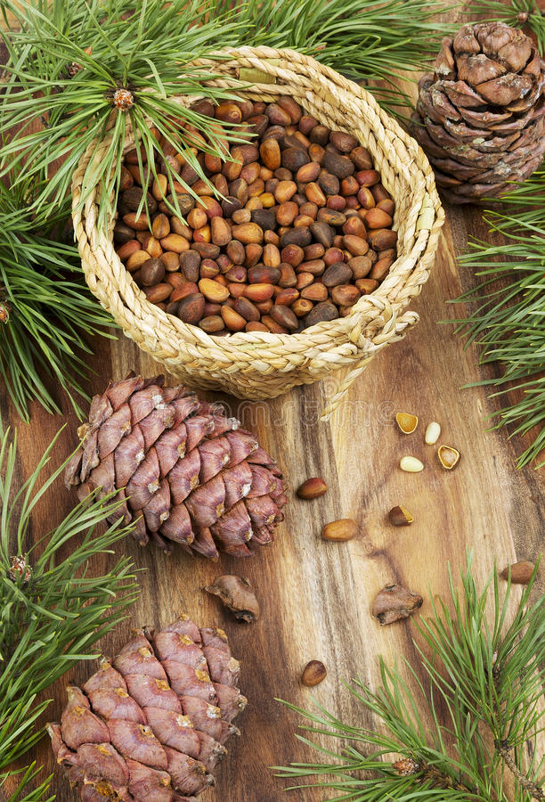 Pine nuts on a wooden table. Pine nuts, branches and cones on a wooden table royalty free stock photos