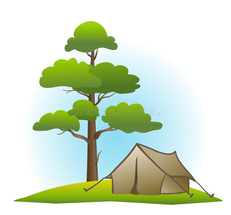 Download Pine and tent stock vector. Image of summer, wood, season - 19478028