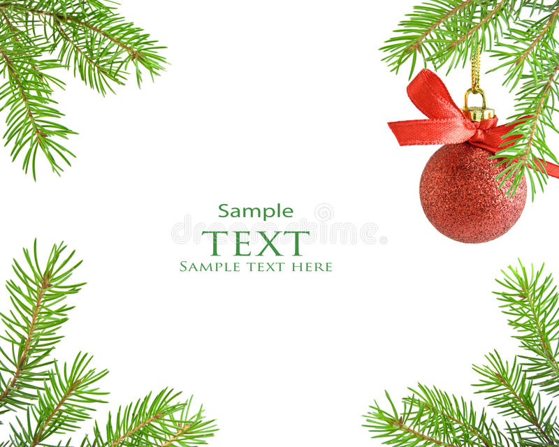 Download Pine Tree Branch And Red Christmas Ball Stock Image - Image: 27529951