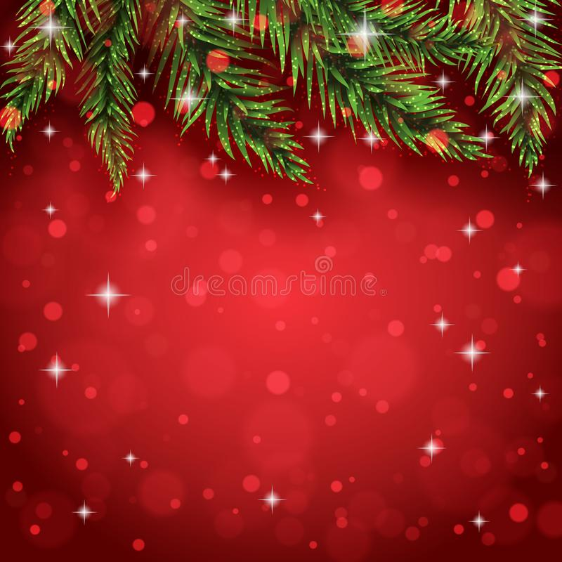 Pine tree branches on the christmas postcard background royalty free stock images