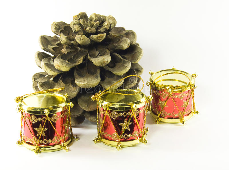Download Pine Tree Cone With Toy Drum Christmas Decorations Stock Image - Image: 11583513