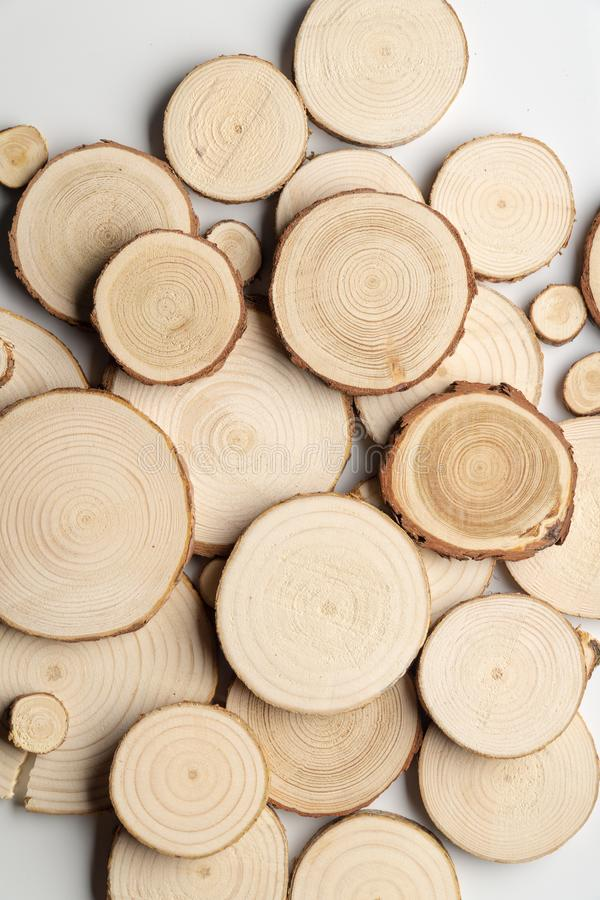 Free Pine Tree Cross-sections With Annual Rings On White Background. Lumber Piece Close-up, Top View. Royalty Free Stock Photos - 141546428