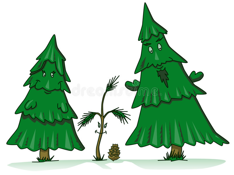 Download Pine Tree Family Cartoon Stock Vector Illustration Of Woods
