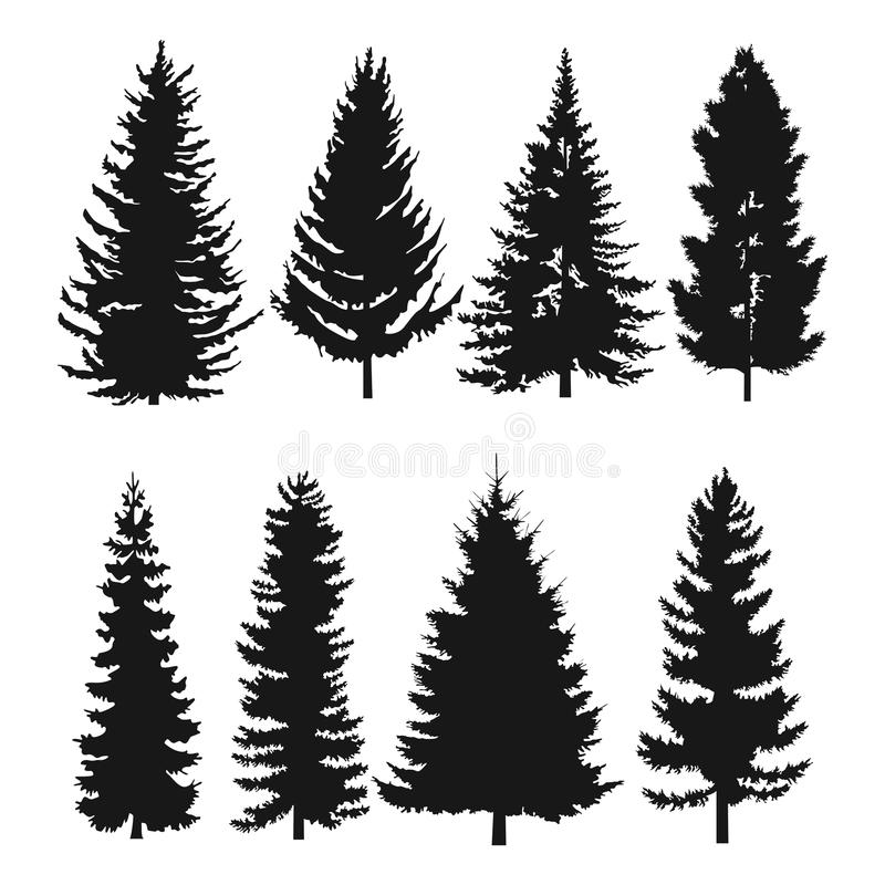 Pine tree flat icon royalty free illustration