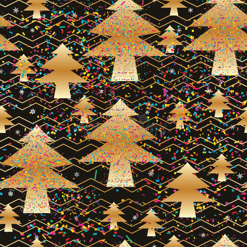 Pine tree gold crazy colorful Chevron seamless pattern. This illustration is abstract gold pine tree with colorful piece celebrating with snowflake, Chevron like vector illustration
