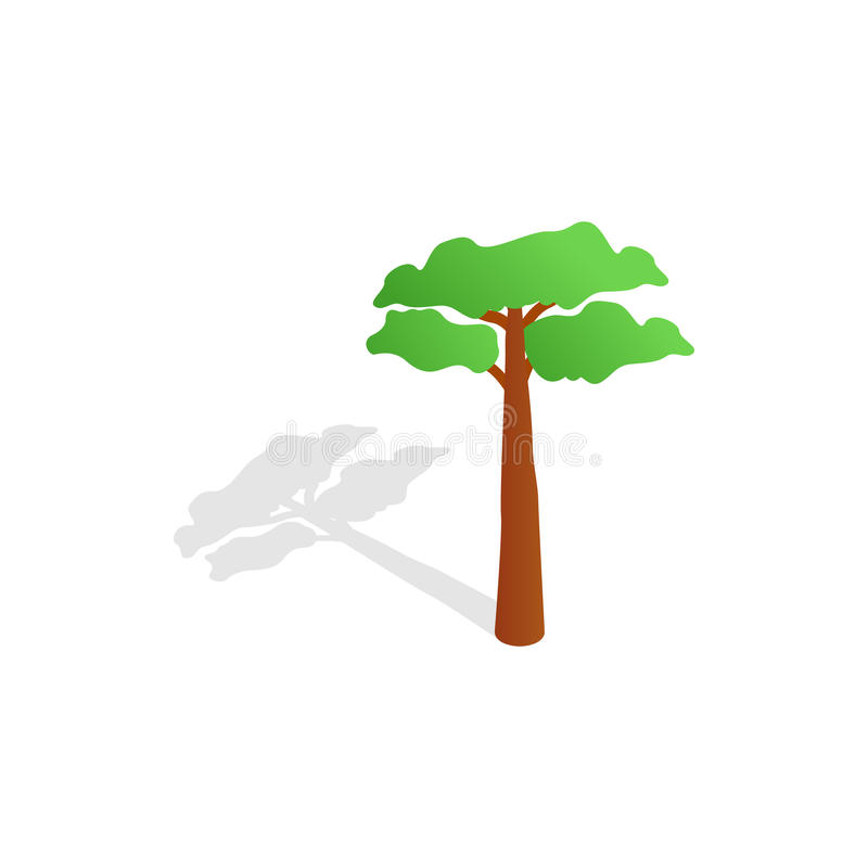 Pine tree icon, isometric 3d style. Pine tree icon in isometric 3d style isolated with shadow on white background vector illustration
