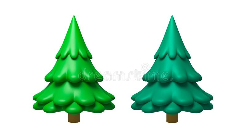 Pine tree in minimal style isolated on pure white background with clay plasticine concept. Decoration trees of merry christmas. royalty free stock photography