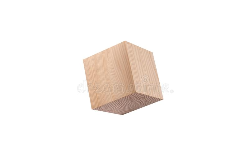 Pine wooden cube. stock photo