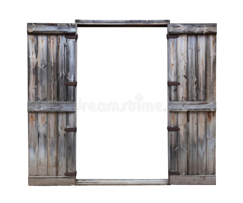 Rustic pine wooden door with vintage style hinge isolated on white background for architectural design purpose. Pine wooden door with vintage style hinge stock image