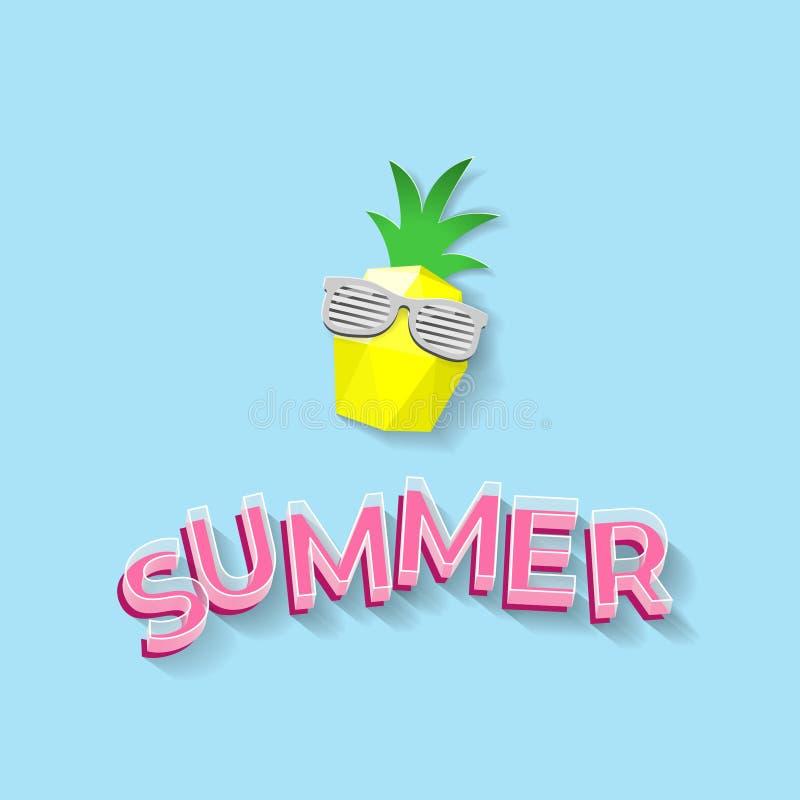 pineaplle poli com óculos de sol - ilustração da arte do texto e do papel do verão 3D baixo do vetor ilustração stock