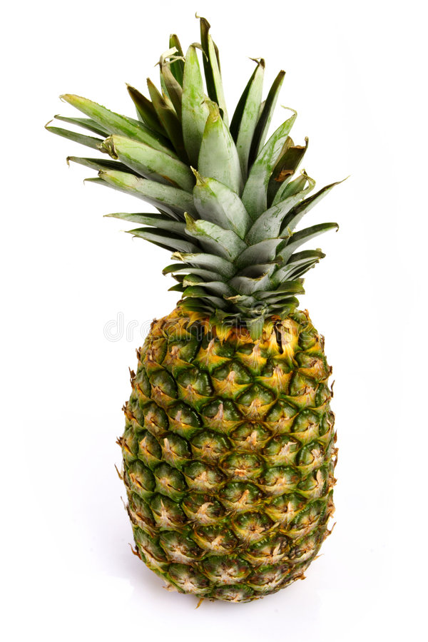 Pineapple. Whole pineapple on white background royalty free stock photo