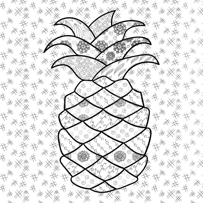 pineapple coloring page stock vector illustration
