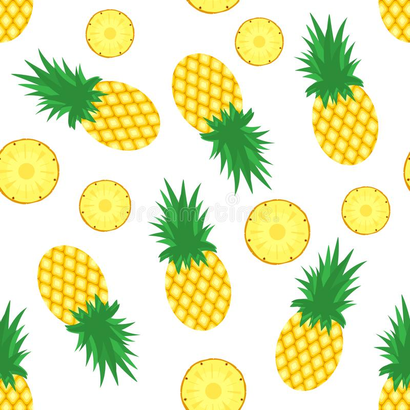 Free Pineapple Background. Fresh Pineapples And Slices Of Pineapples On White Background. Tropical Fruit Pattern. Vector Stock Photography - 117070002