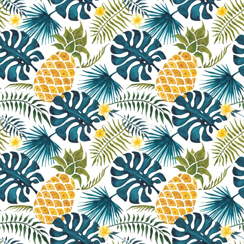 Free Pineapple Background. Watercolor Seamless Pattern. Stock Image - 115447601