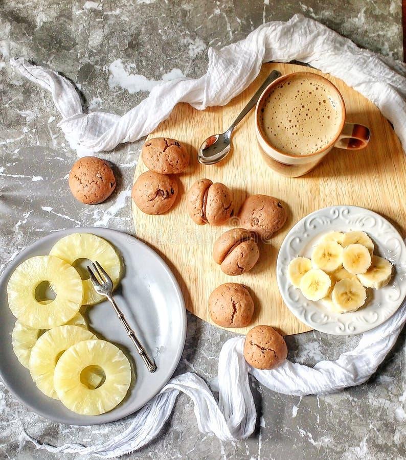 Pineapple banana and coffee stock image