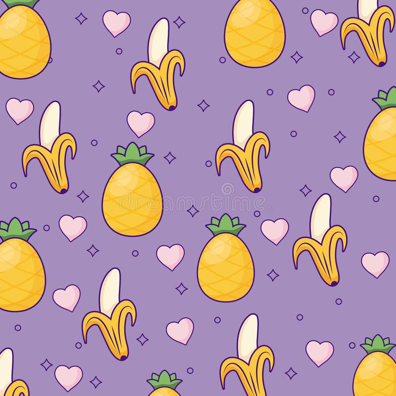 Pineapple and bananas background stock illustration