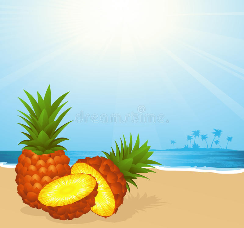 Download Pineapple on the beach stock vector. Illustration of design - 14854188
