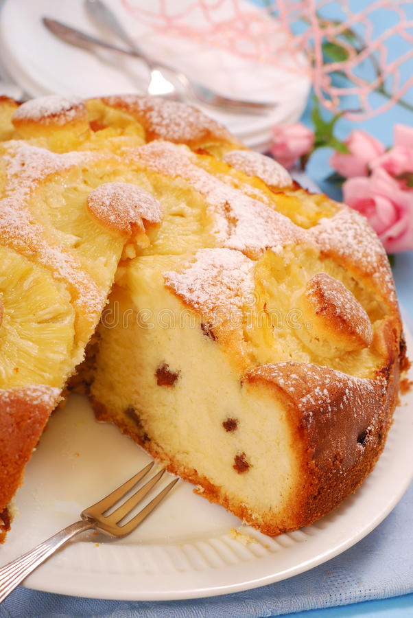 Download Pineapple Cake With Raisins Stock Image - Image of healthy, delicious: 16809289