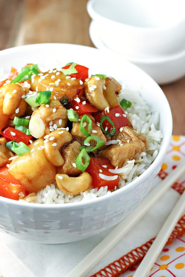 Pineapple chicken with cashews stock photos