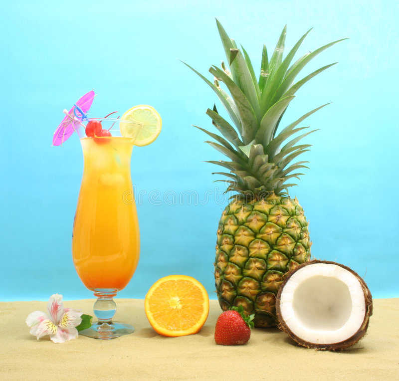 Pineapple and Cocktail royalty free stock photo