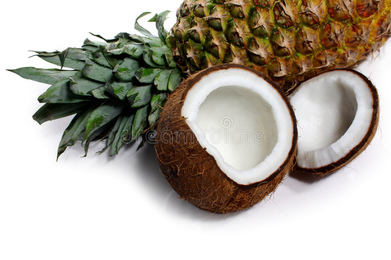 Pineapple and coconut stock photos