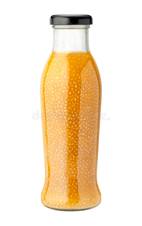 Pineapple Coconut Chia Drink with a clipping path royalty free stock photo