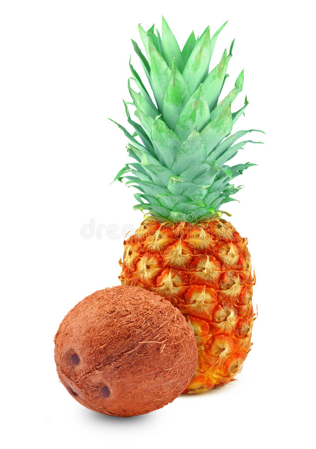 Pineapple and coconut stock image