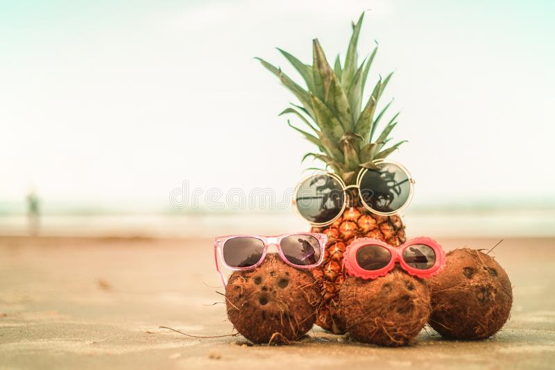 Pineapple and Coconuts Wearing Sunglasses On Sandy Beautiful Bea. Adorable Pineapple and Coconuts Wearing Sunglasses On Sandy Sunny Carribean Beach royalty free stock photos