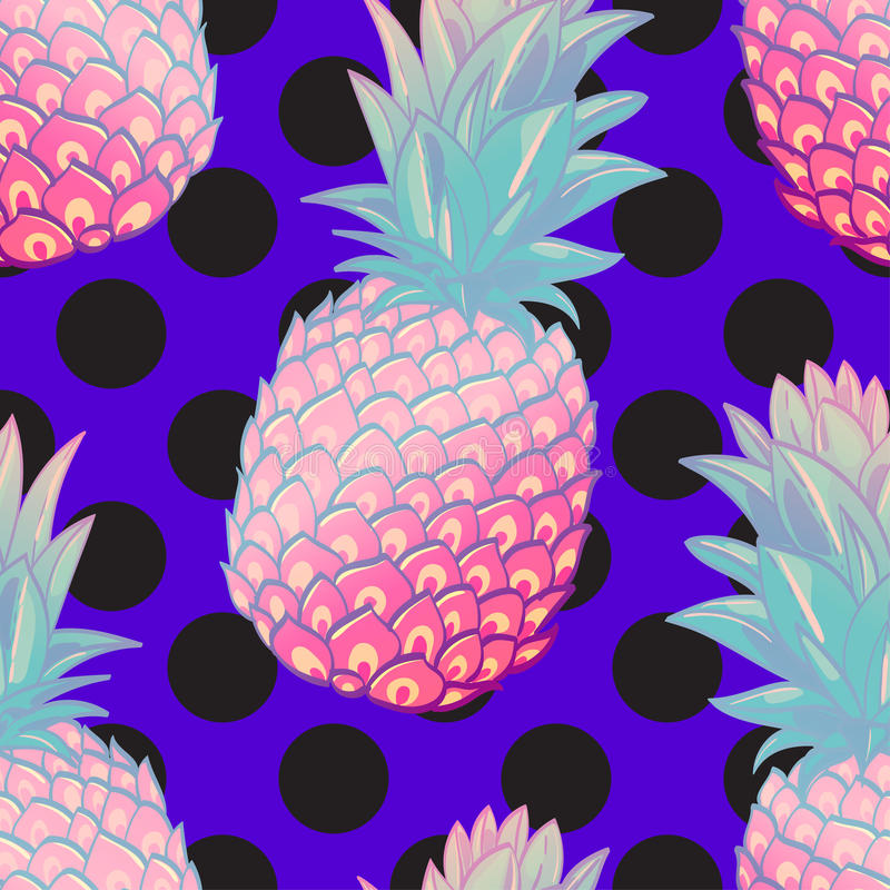Free Pineapple Creative Trendy Seamless Pattern Royalty Free Stock Images - 87997799
