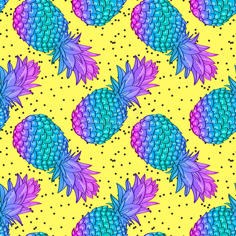 Free Pineapple Creative Trendy Seamless Pattern Royalty Free Stock Images - 88029949